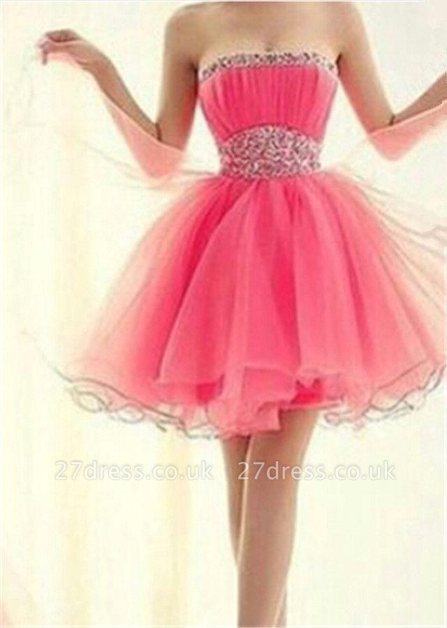 Lovely Strapless Sleeveless Organza Homecoming Dress UK Short With Beadings