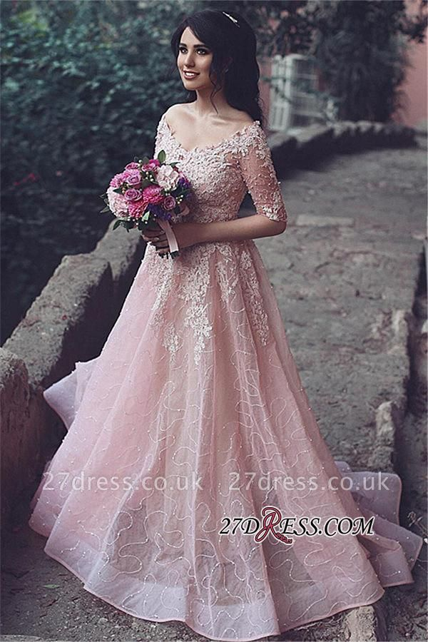 Tulle Pink A-Line Applique Half-Sleeve Long Prom Dress UKes UK