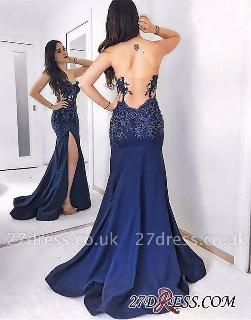 Sweetheart Mermaid Dark-blue Sweep-train Lace Split-front Evening Dress UK BA7581