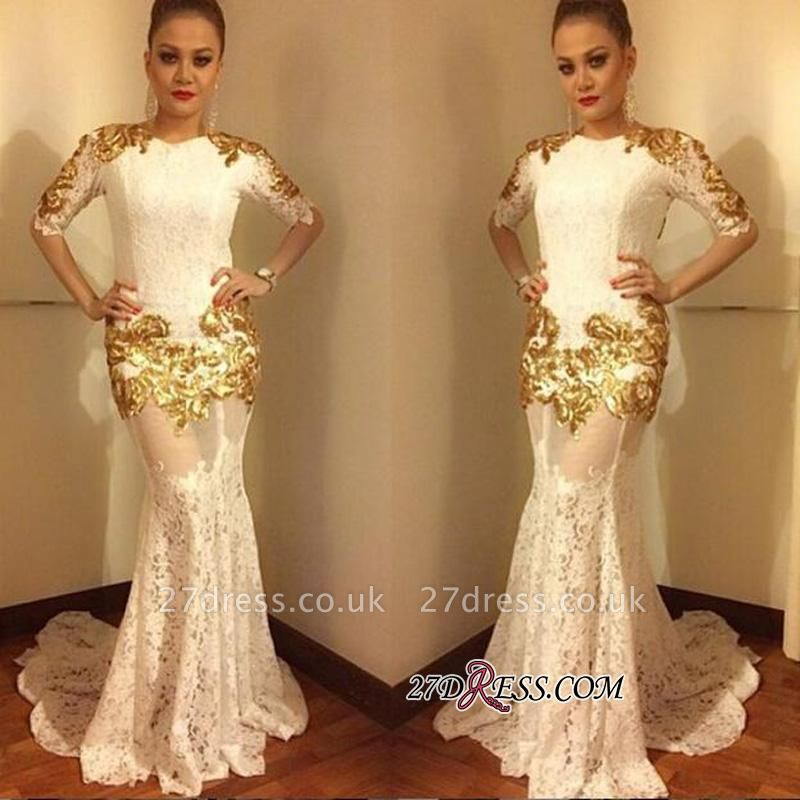 Lace Mermaid Half-Sleeves Elegant Gold-Appliques Prom Dress UK