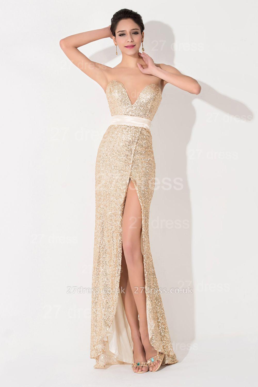 Elegant Sequins Front Split Evening Dress UK Sweetheart Sleeveless