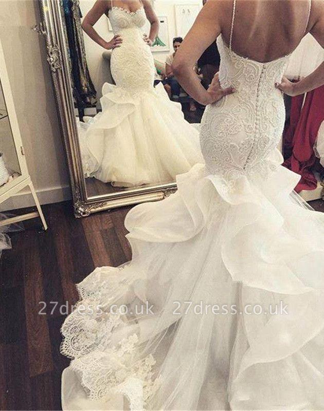 Sexy Mermaid Ruffles Lace Wedding Dress Spaghetti Strap Sleeveless