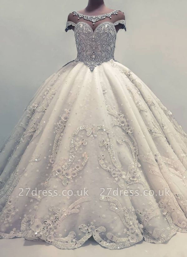 Glamorous Ball Gown Wedding Dresses UK Shiny Crystals Bridal Gowns with Flowers