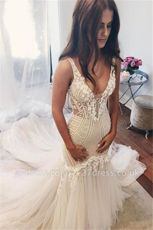 Sexy Mermaid  V-Neck Wedding Dresses UK Sleeveless Open Back Bridal Gowns with Buttons