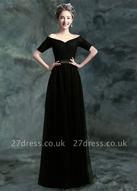 Modern Black A-line Prom Dress UK Floor-length Lace-up