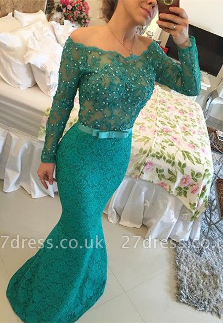 Elegant Black Lace Prom Dress UK   Long Evening Gowns