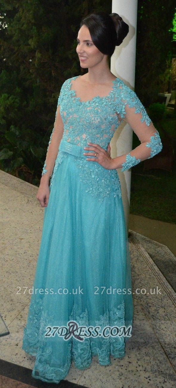 Luxurious Long Sleeve Beadings Prom Dress UK Floor-length Lace Appliques Evening Gown