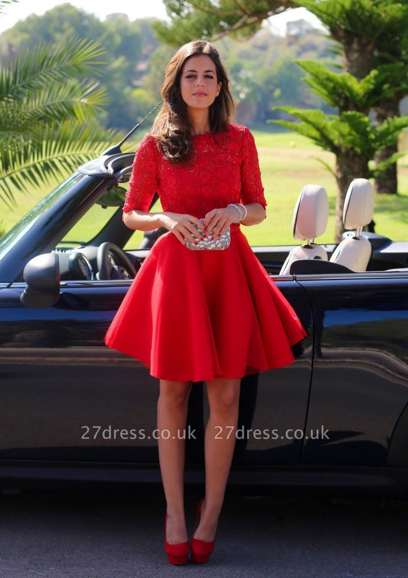 Modern Half-sleeve Red Short Homecoming Dress UK With Lace