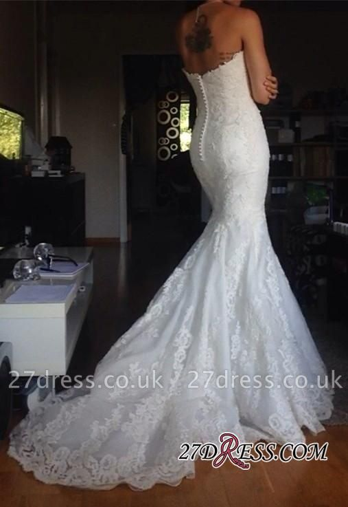 Buttons Tulle Appliques White Simple Strapless Wedding Dress