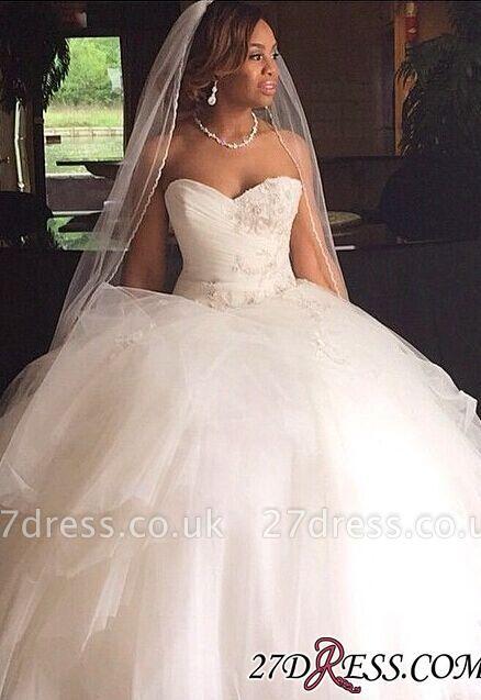Ball Ruffles Sweetheart Tulle Princess Gown Wedding Dresses UK