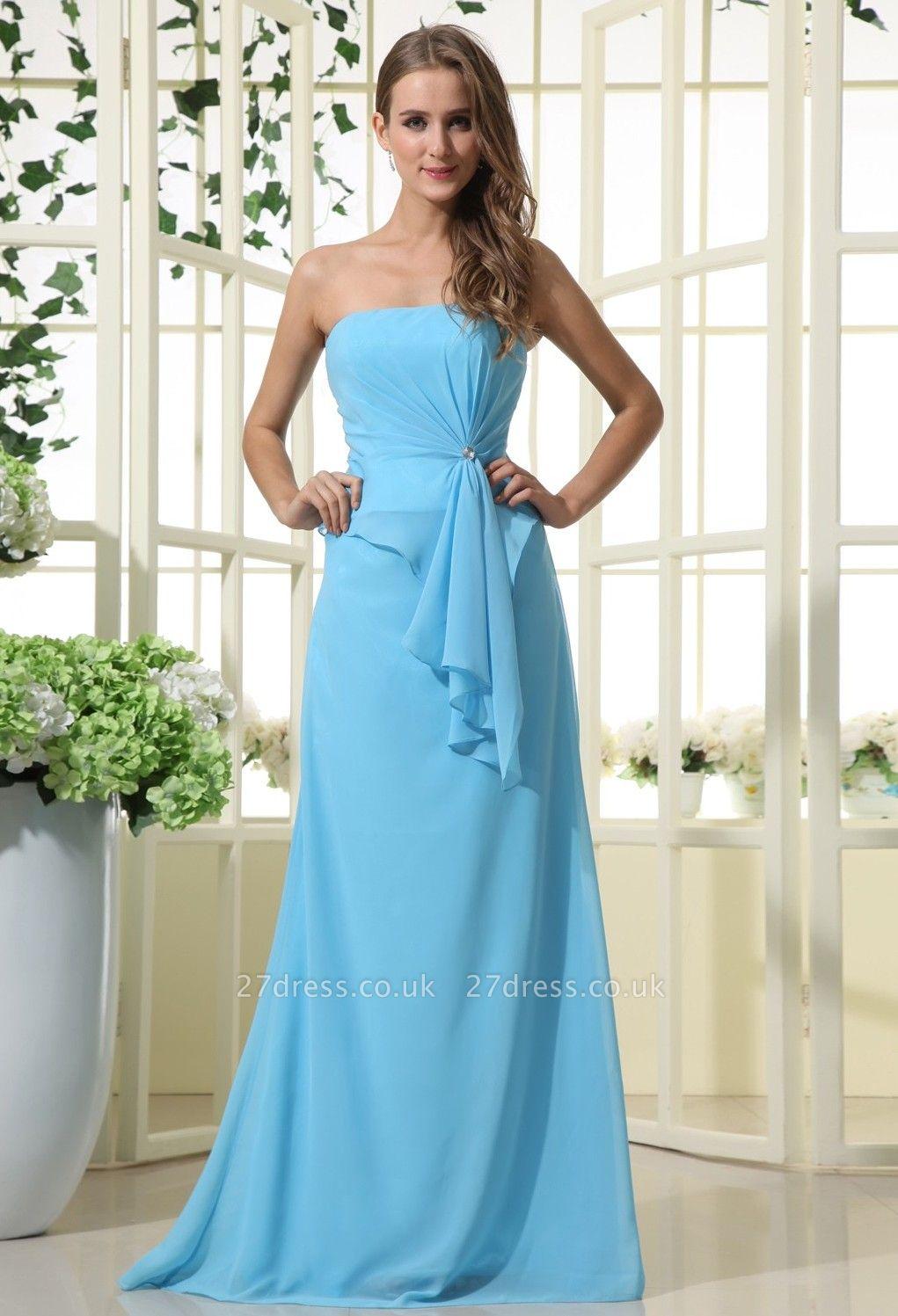 Sexy Strapless Bridesmaid Dress UK | Mermaid Chiffon Maid Of Honor Bridesmaid Dress UK