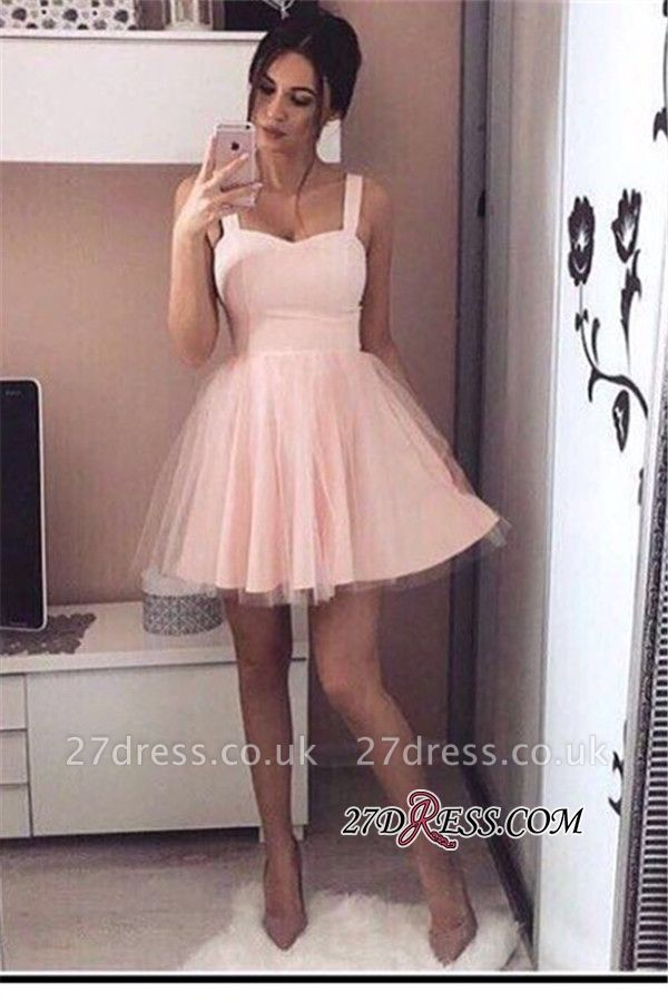 Pink Mini A-Line Straps Sexy Simple Tulle Homecoming Dress UKes UK