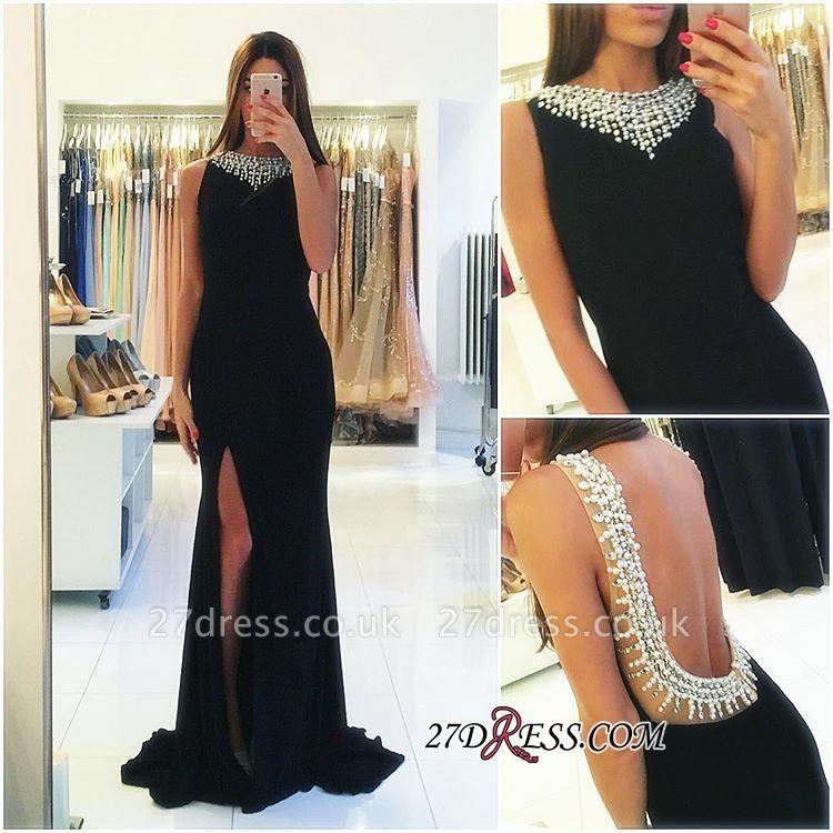Sleeveless Beaded Side-Slit Elegant Popular Backless Black Sheath Prom Dress UK