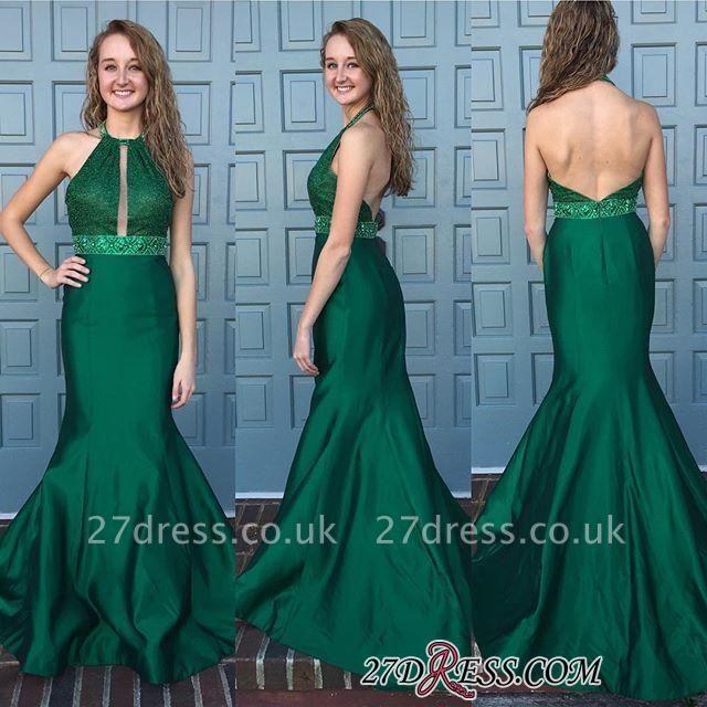Beads Halter Sleeveless Mermaid Backless Newest Sweep-Train Prom Dress UK