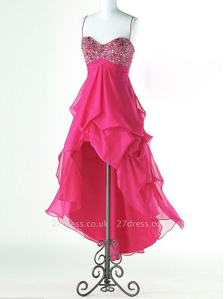 Gorgeous Hi-Lo Chiffon Prom Dress UK Spaghetti Strap Crystals
