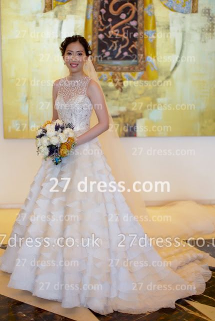 Beaded Bridal Wedding Dresses UK with Sheer Cheap Back Sleeveless Organza A-line Top Court Train Gowns Buttons