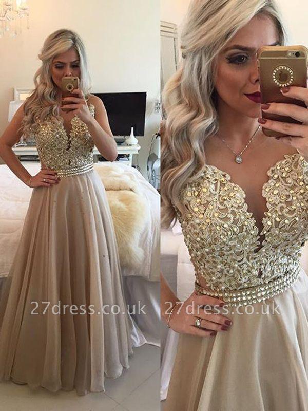 Modest A-line Lace-Appliques Evening Dress UK | Floor-length Evening Gown