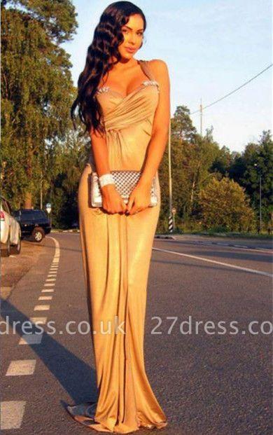 Elegant Mermaid Crystal Halter Prom Dress UK Sleeveless Sweep Train