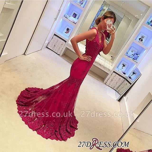 Appliques Mermaid Sleeveless Gorgeous V-Neck Prom Dress UKes UK BA4626