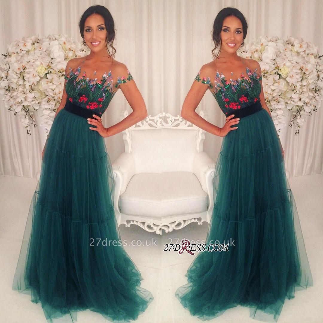 Green Appliques Short-Sleeves A-Line Tulle Prom Dress UKes UK BA6625