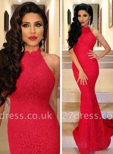 Lace Elegant Mermaid Prom Dress UK red High-neck Sleeveless Evening Gowns