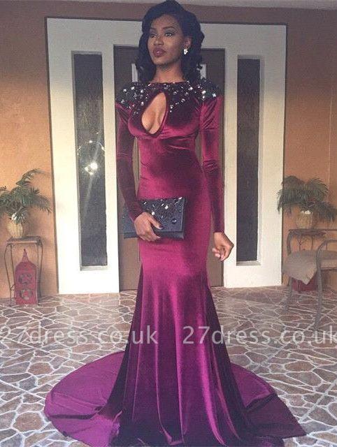 Gorgeous Long Sleeve Keyhole Evening Dress UK High-Neck Mermaid With Beads BK0