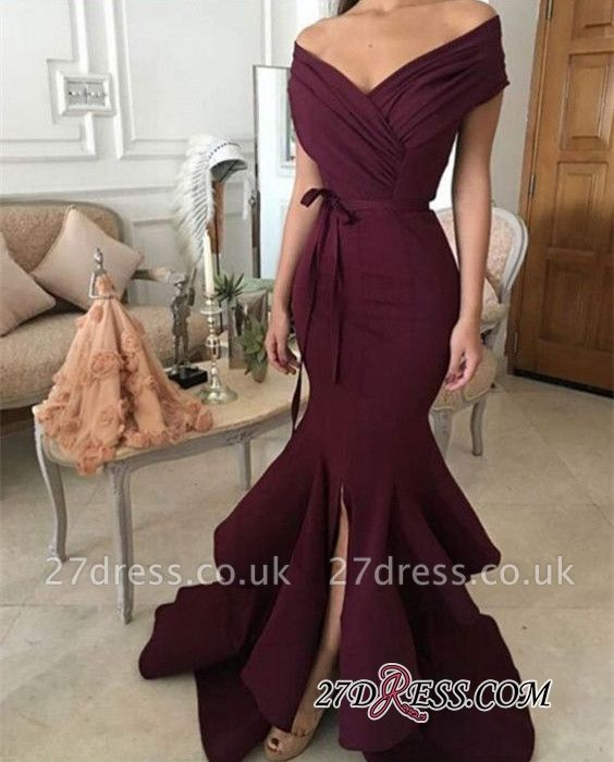 Burgundy off-shoulder Prom Dress UKes UK   Mermaid Evening Gowns With Ruffles