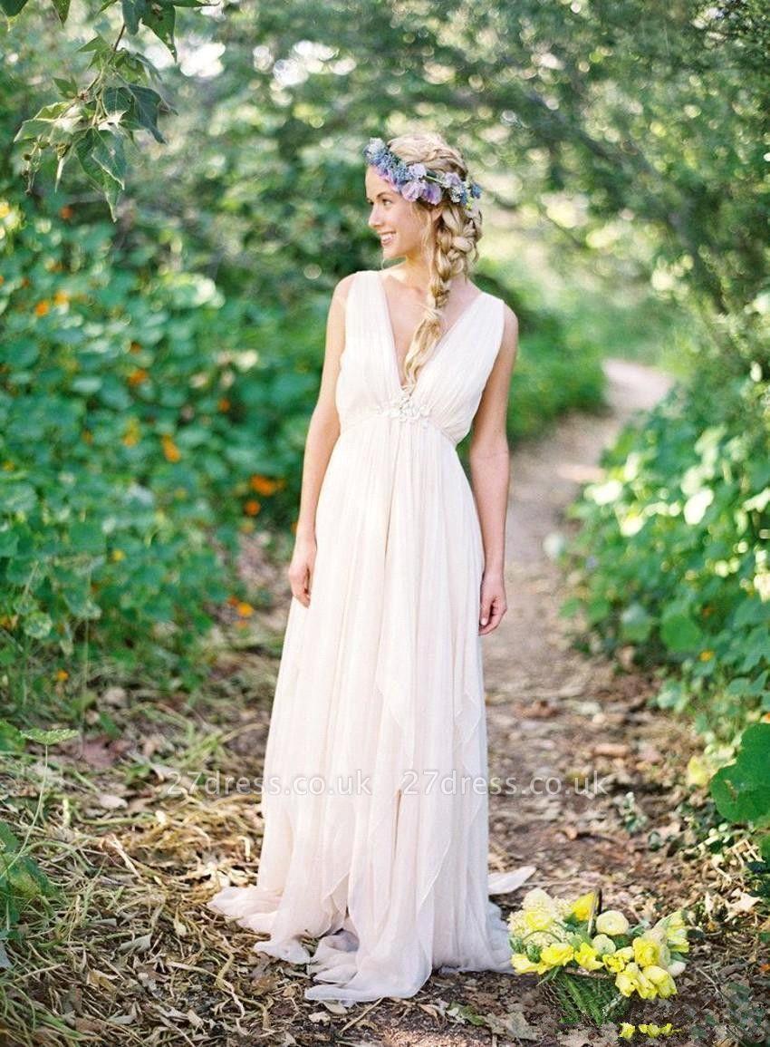 Elegant V-Neck Sleeveless Summer Wedding Dresses UK Long On Sale