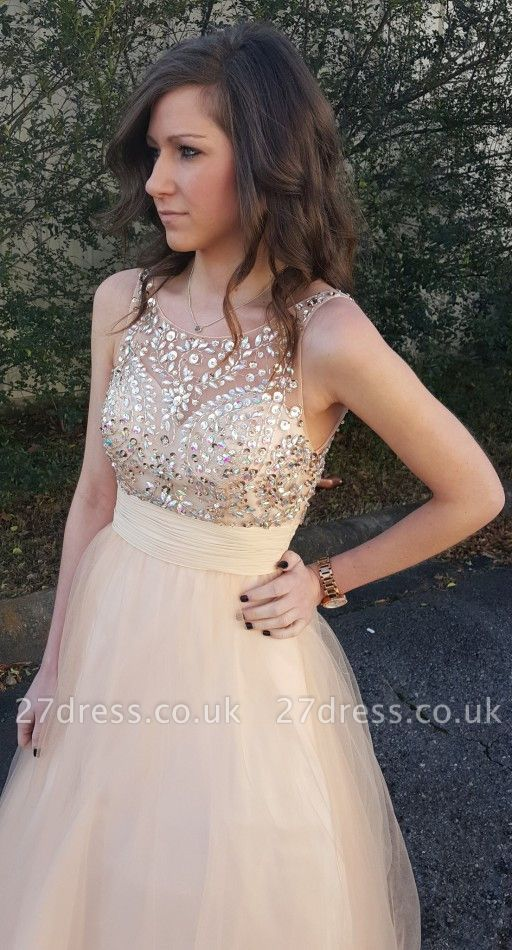 Sexy Sleeveless Prom Dress UK Tulle Crystal Evening Gowns