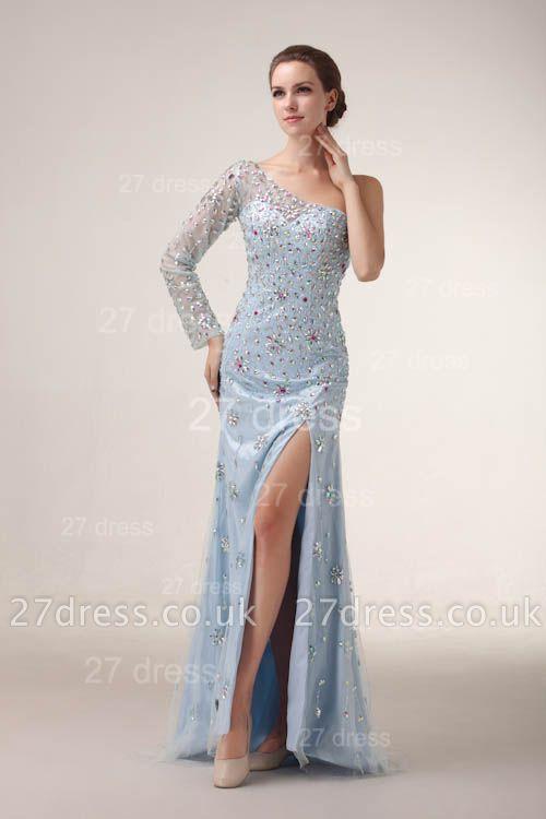 Elegant One Shoulder Tulle Prom Gowns Side Slit Crystal Evening Dress UKes UK