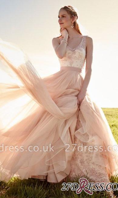 Beauutiful Sleeveless V-Neck Tulle Appliques Prom Dress