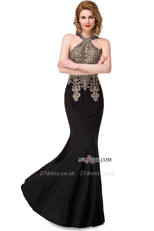 Mermaid Sleeveless Halter Crystal Black Elegant Appliques Prom Dress UK