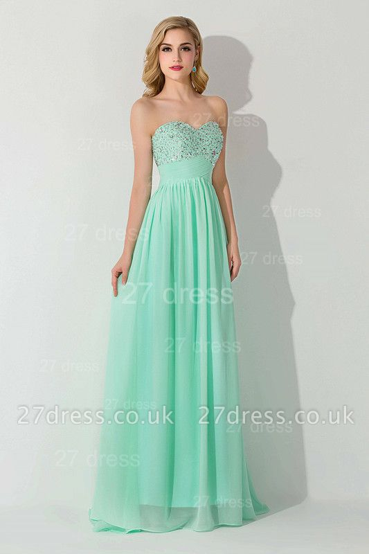 Modern Chiffon A-line Crystals Evening Dress UK Sweetheart Sleeveless