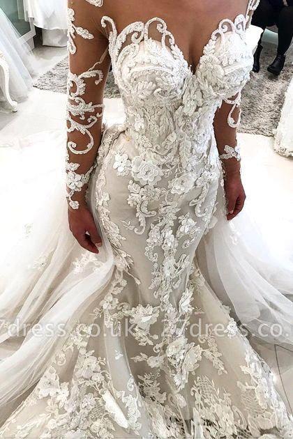 Elegant Long Sleeve 2019 Wedding Dress | Sexy Mermaid Zipper Bridal Gowns