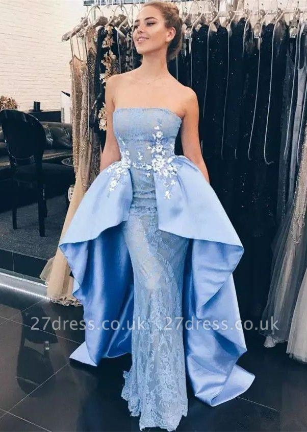 Newest Blue Lace Strapless Prom Dress UK | Prom Dress UK