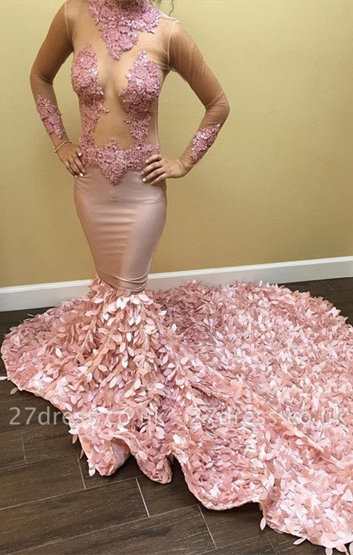 Long-Sleeve Pink Prom Dress UK | Lace Evening Gowns