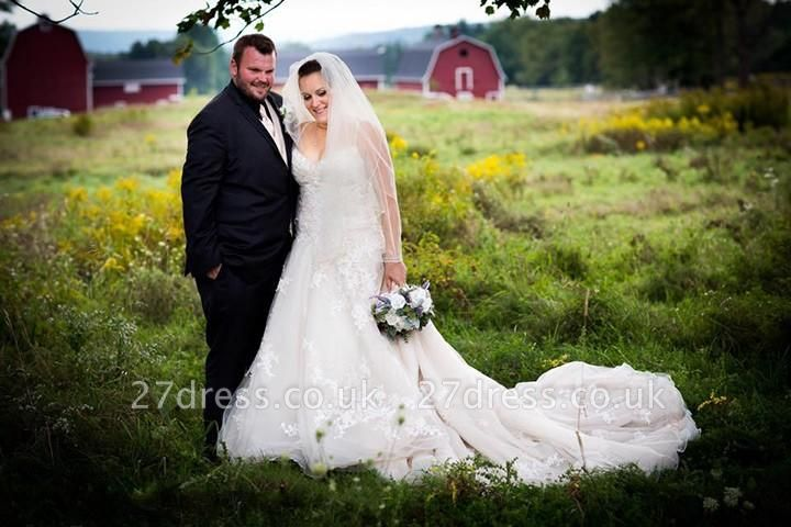 Lace Tulle Spaghetti-Strap Gorgeous Sweetheart Plus-Size Wedding Dress
