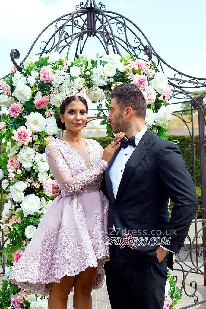 Hi-Lo Long-Sleeves Pink Applique Mini Lace V-Neck Homecoming Dress UKes UK