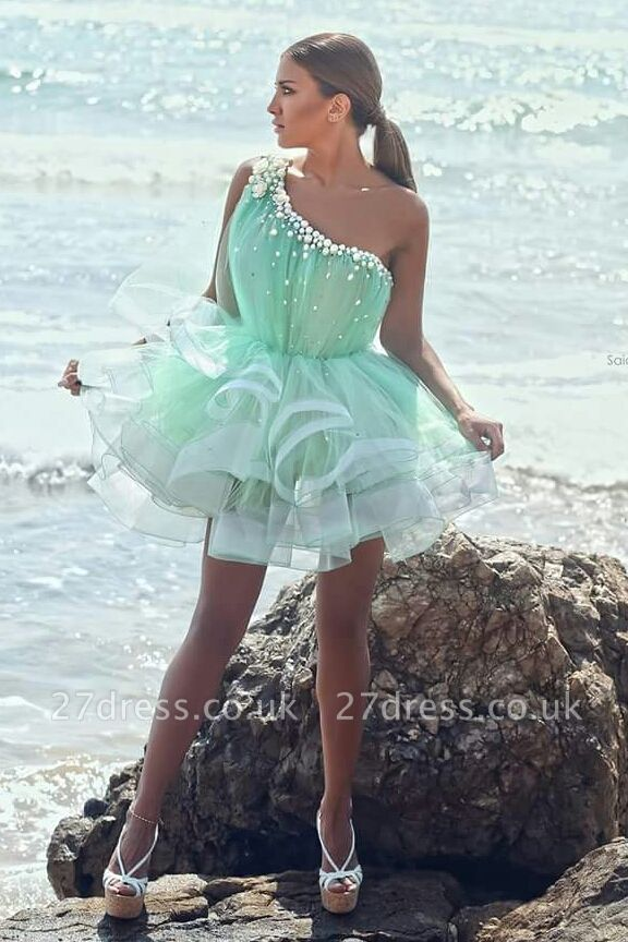 Modern One-shoulder Short Homecoming Dress UK With Beadings Ruffles