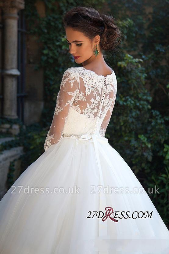 Half-Long-Sleeves Gown Lace Fall Elegant Ball Wedding Dresses UK BA3678