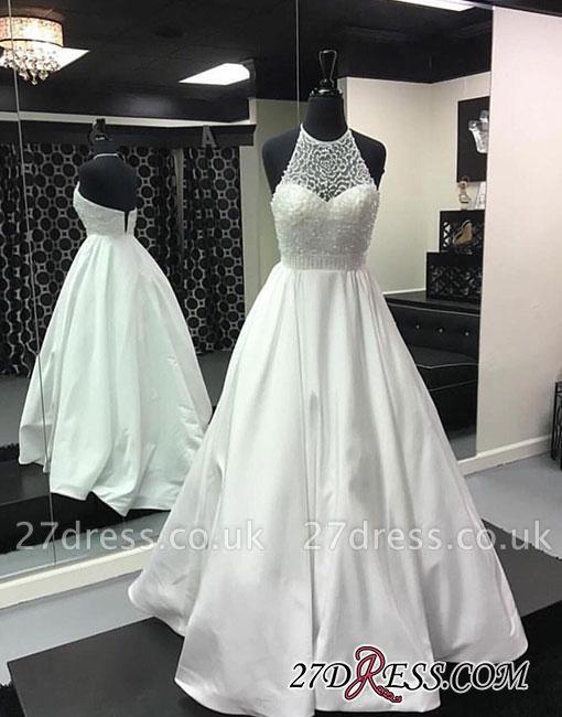 Back-zipper Long Beads White Halter Evening Dress UK