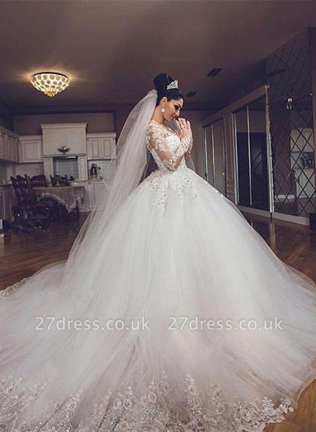 Delicate Lace Appliques Ball Gown Wedding Dress Long Sleeve Tulle