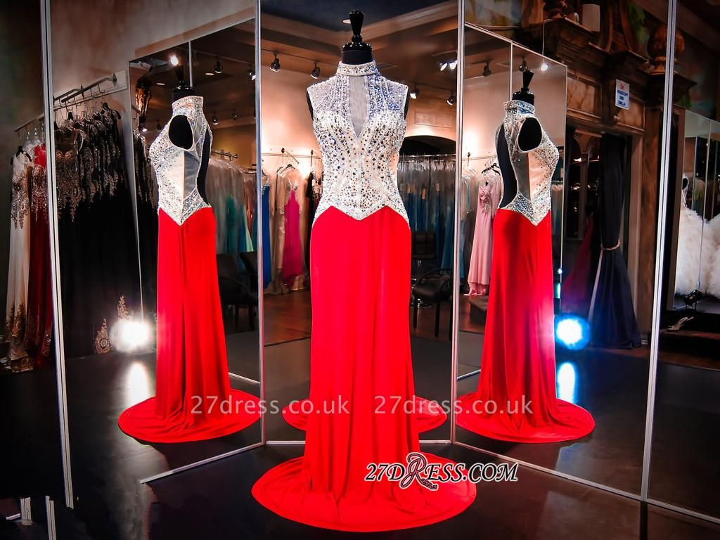 Sweep-Train Crystals High-Neck Sleeveless Red Newest Evening Dress UK