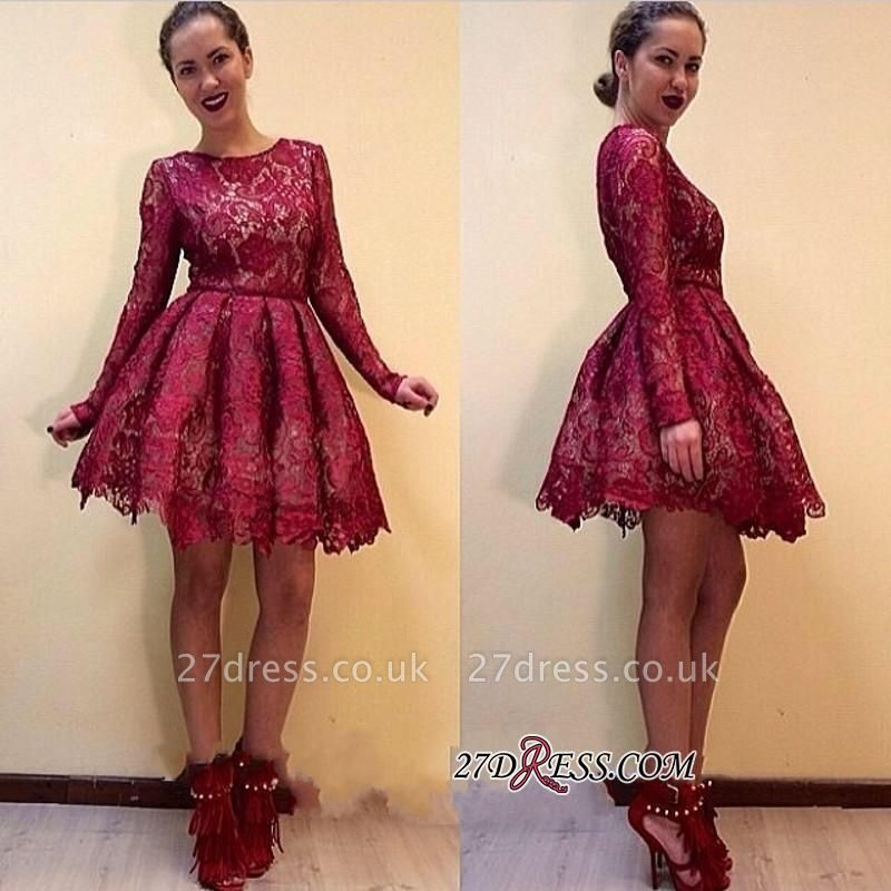 Short Burgundy Long-Sleeves A-line Lace Sexy Homecoming Dress UKes UK