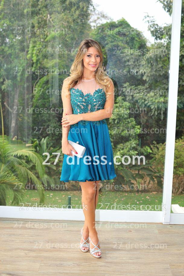 Vestidos Lindo Short Blue Prom Dress UK Sexy Cocktail Gowns Bateau Sleeveless Chiffon