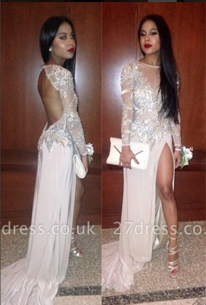 Long Sleeves Prom Dress UKes UK Pink Thigh-High Slit Sequined Backless Elegant Evening Gowns
