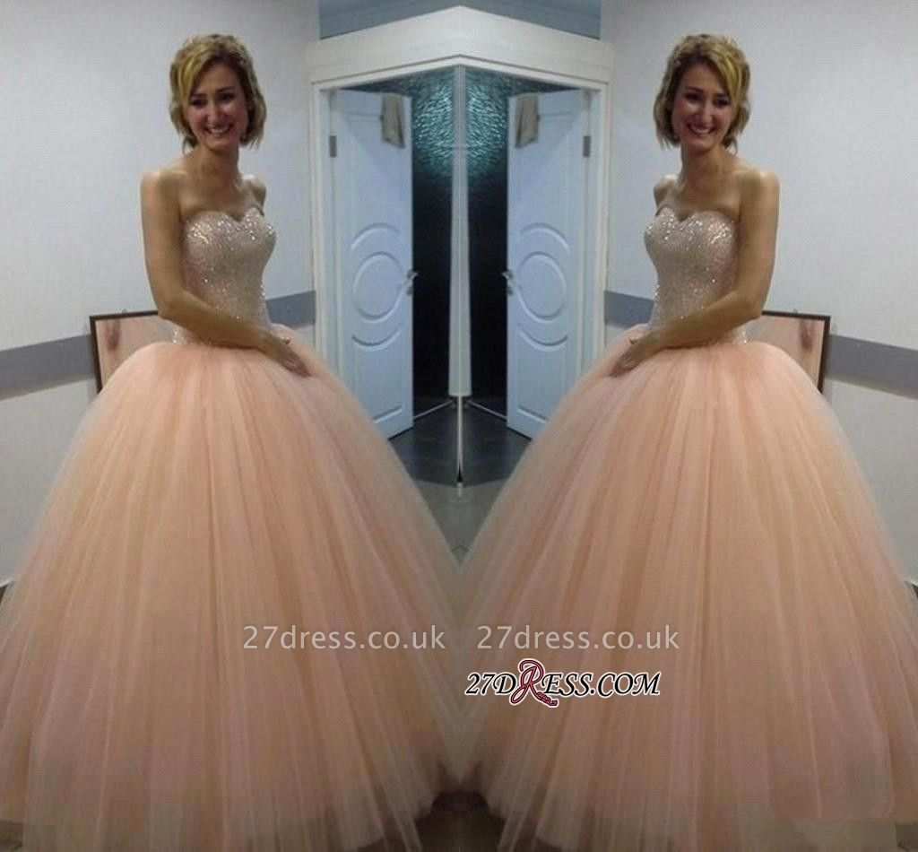 Sweetheart Ball-Gown Tulle Beautiful Sequins Evening Dress UK