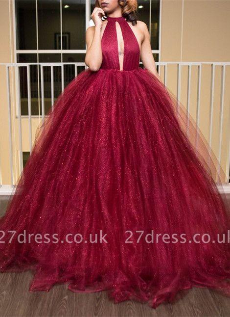 Luxury High-Neck Tulle Evening Dress UK Ball Gown Prom Dress UK