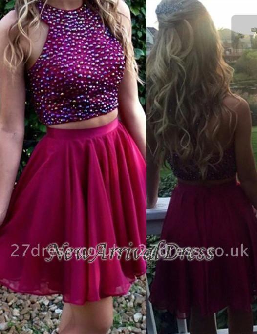Two-Piece Chiffon Short Beadings Luxury Homecoming Dress UK BA3641