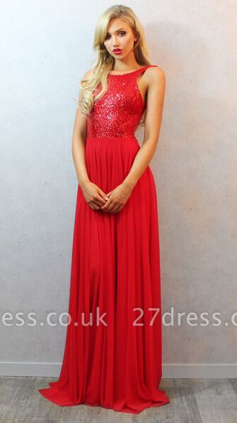 Sequins Long Red Chiffon Prom Dress UK with Elegant Backless Womens Evening Party Gowns